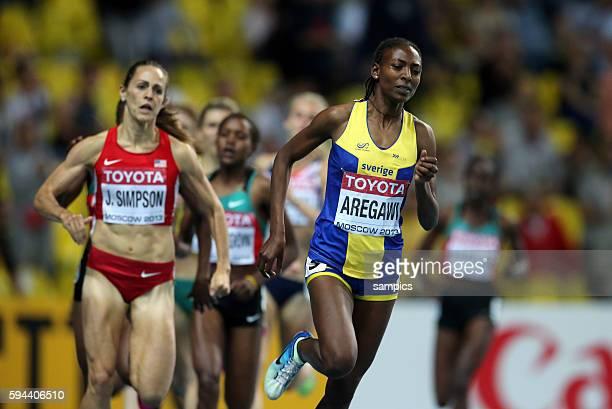 Meter final women world champion Abeba Aregawi SWE vor Jennifer Simpson USA Leichtathletik WM Weltmeisterschaft Moskau 2013 IAAF World Championships...