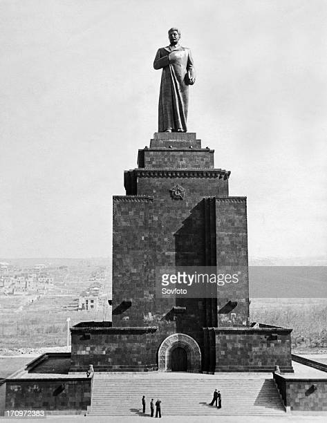50 meter high monument to josef stalin erected in the armenian capital of yerevan the monument was built by sculptor and people's artist of the ussr...