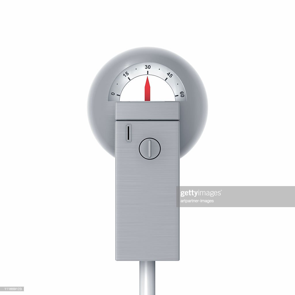 Meter Or Parking Meter With 30 Minutes Left Stock Photo