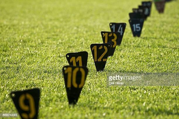 Meter signs on athletics field