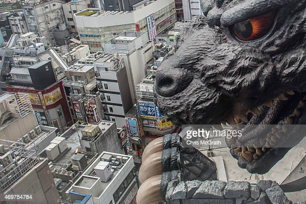 A 12 Meter Tall Zilla Replica Head Is Seen On The 8th Floor Terrace Of