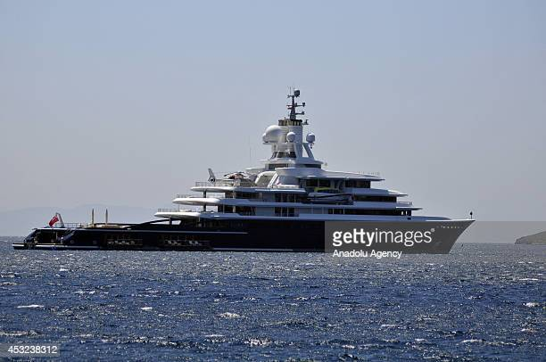 115 meters luxury explorer yatch Luna owned by Azarbaijani businessman Farkhad Akhmedov drops anchor off in Bodrum district of Mugla on August 06...
