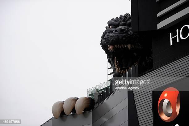 A 12 meters tall Godzilla replica based on the original 1954 film is seen on the top of the ninefloor Toho Cinema Shinjuku Building in Kabukicho...