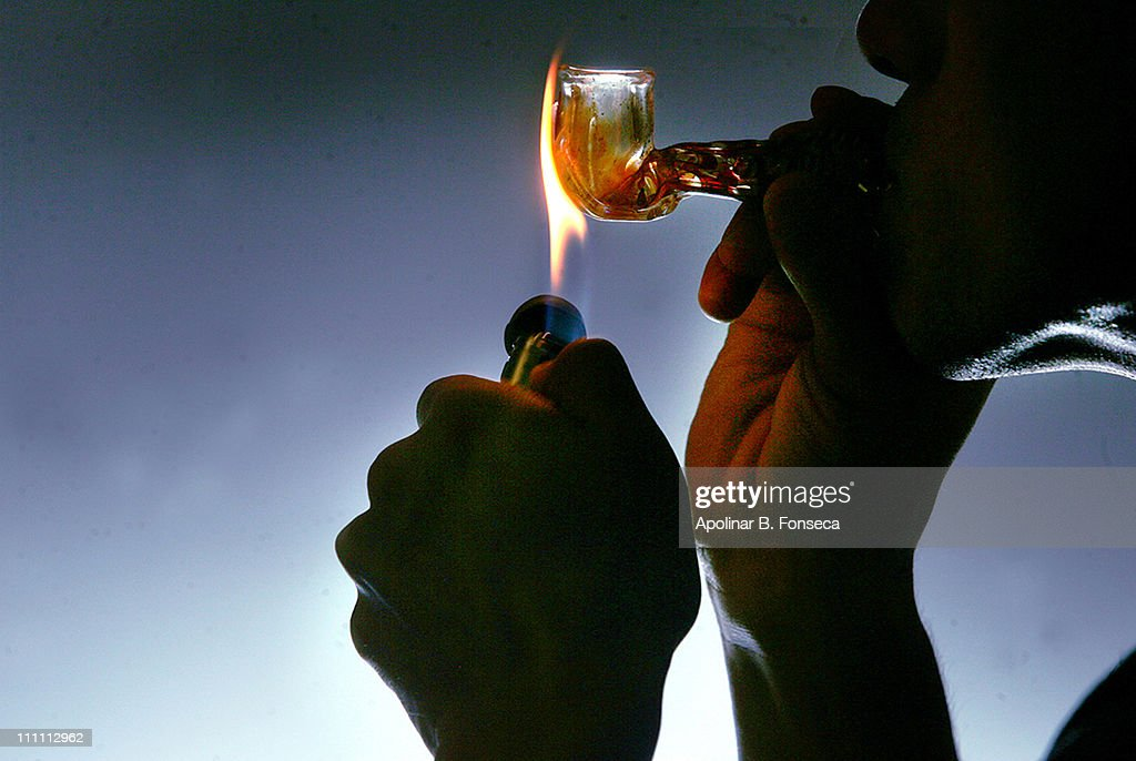 Meth Drug Pipe with lighter : Stock Photo