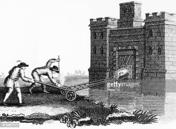 Method of fixing petard to fortress gateway when protected by moat Stipple engraving c1800