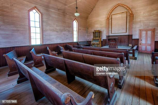 methodist church interior, bodie state historic park, california, usa - weinstein stock pictures, royalty-free photos & images