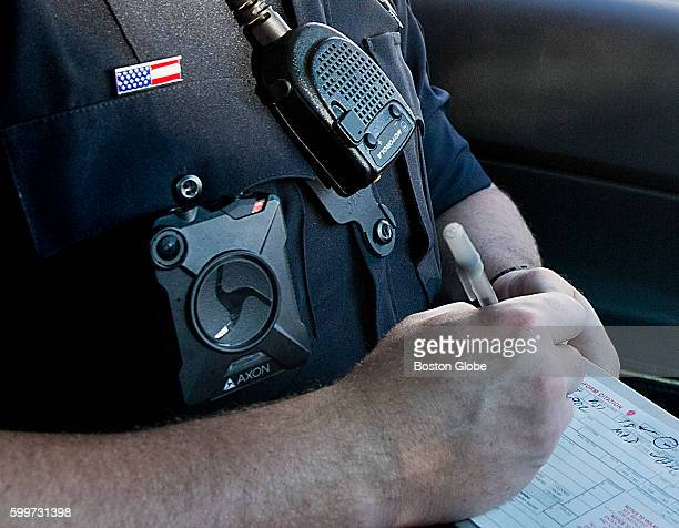 Methuen police officer Nick Conway wore a body camera while he wrote a citation on Saturday August 20 2016 In May the Methuen Police Department with...