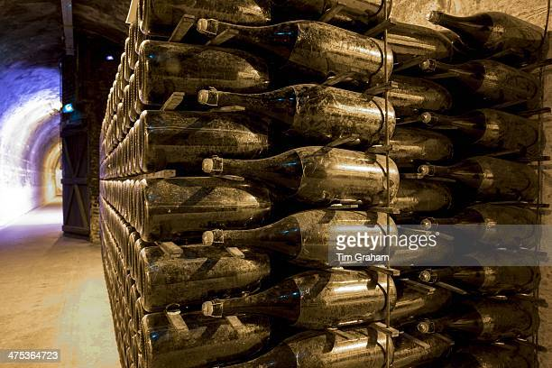 Methuselah bottles stacked and ageing in caves of Champagne Taittinger in Reims ChampagneArdenne France