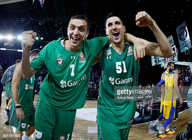 Metin Turen #7 of Darussafaka Dogus Istanbul and Milko Bjelica #51 of Darussafaka Dogus Istanbul celebrate victory during the Turkish Airlines...