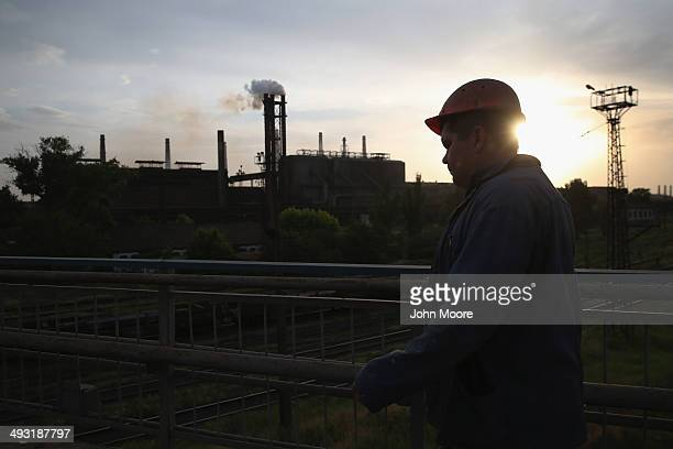 Metinvest steel worker finishes his shift at the IIyich Iron and Steel Works on May 22 2014 in Mariupol Ukraine Rinal Akhmetov the owner of the plant...
