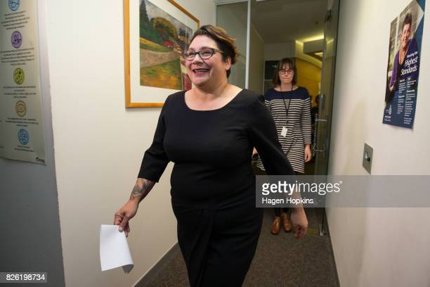 Metiria Turei arrives at a press conference on August 4 2017 in Wellington New Zealand The Green Party coleader came under fire following her...