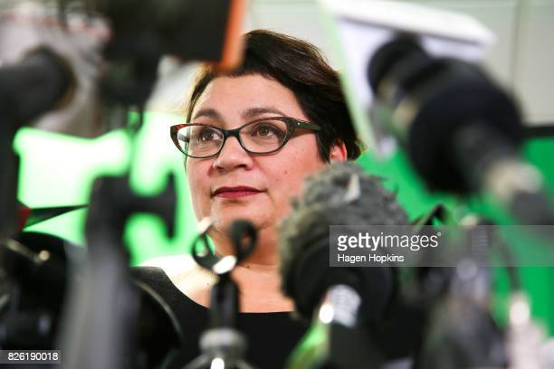 Metiria Turei speaks during a press conference on August 4 2017 in Wellington New Zealand The Green Party coleader came under fire following her...