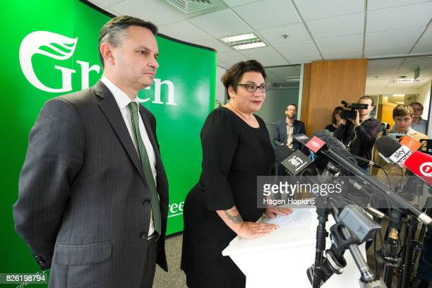 Metiria Turei speaks while James Shaw looks on during a press conference on August 4 2017 in Wellington New Zealand The Green Party coleader came...