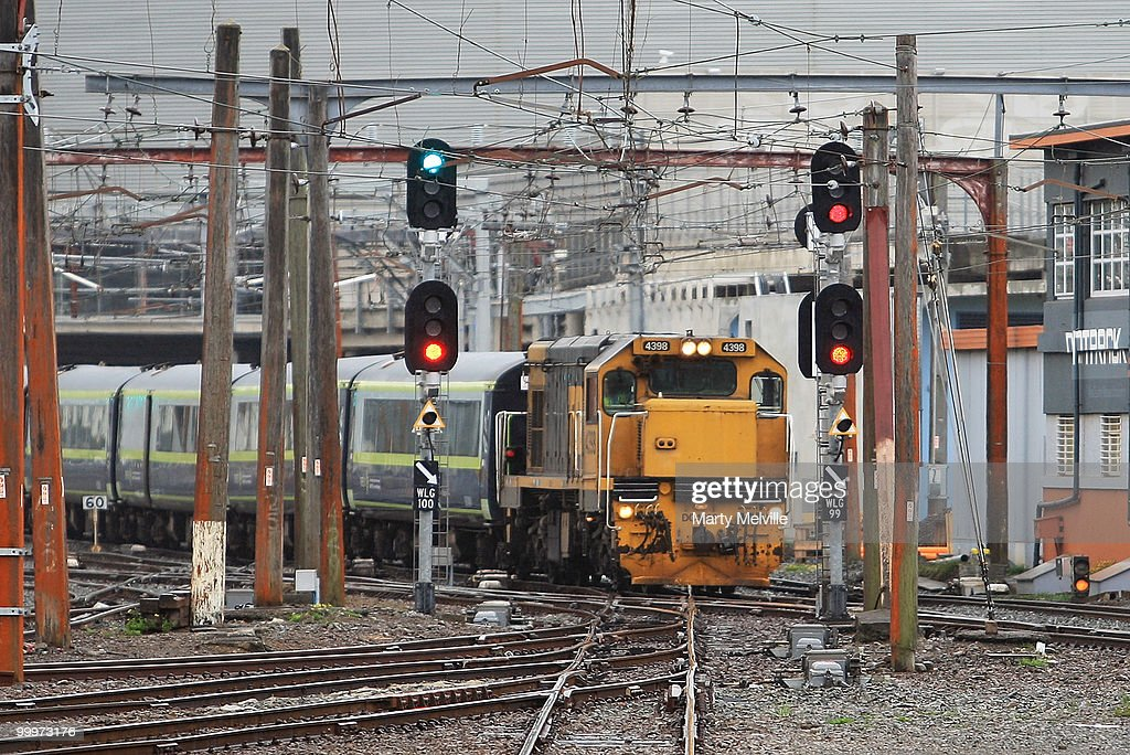 A Metlink train arrives at Wellington Railway station on May 19, 2010 in Wellington, New Zealand. Finance Minister Bill English will deliver the 2010 Budget at Parliament House on March 20.