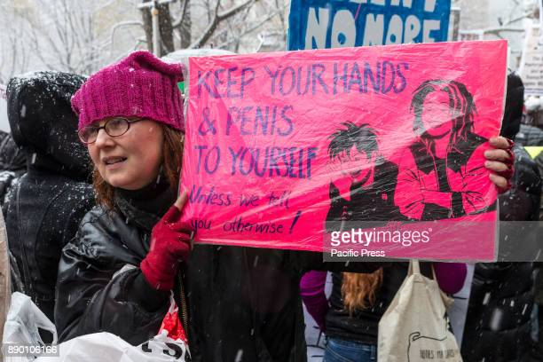 #MeToo rally drew dozens of protesters to the Trump International Hotel at Columbus Circle despite cold and snow