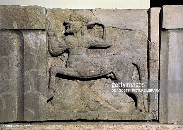 Metope with the figure of centaur from the Heraion from the mouth of the Sele River sanctuary dedicated to the goddess Hera Ancient Greek...