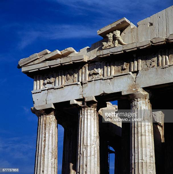 Metopes and reliefs on the west pediment of the Parthenon Acropolis of Athens Greece Greek civilisation 5th century BC