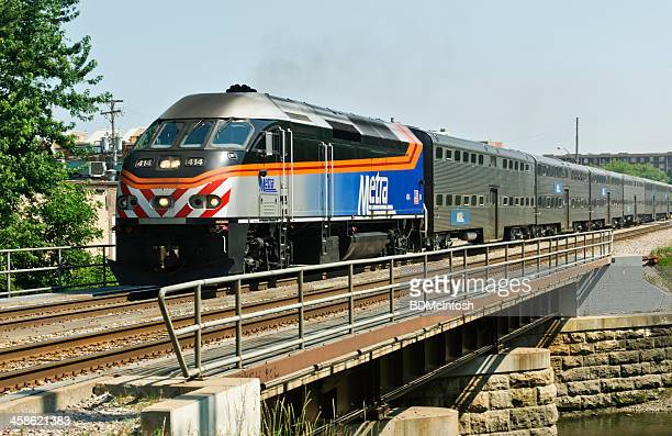metra commuter train - metra train stock photos and pictures