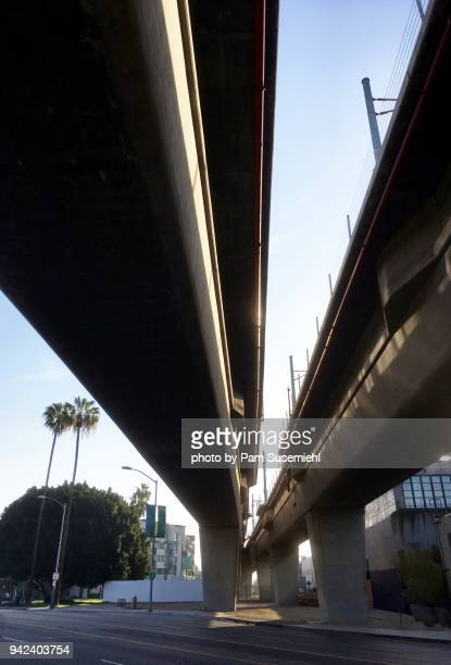 metra train tracks, viewed from below - metra train stock photos and pictures