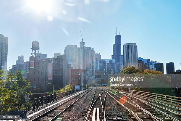 metra view of chicago - metra train stock photos and pictures