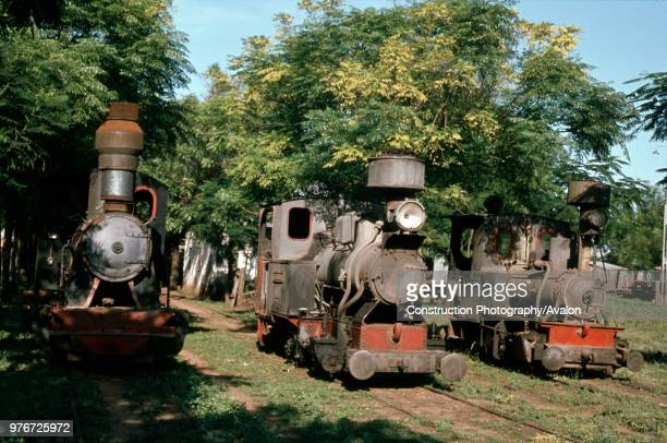 Metre gauge Veterans 'Out to grass' at FC Azucarera Sugar Mill Paraguay Left Hannomag 040WT No 4992 'Tebicuary' centre Orenstein Koppel 040WT No 3597...