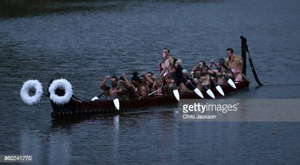 A 14 metre Maori waka travels along the ramparts of Ypres as part of a commemoration to remember over 800 New Zealand Soldiers who died at the Battle...