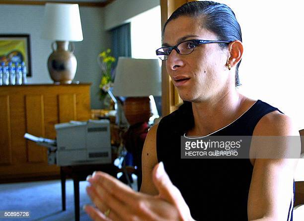 400 metres track and field worldchampion Ana Gabriela Guevara speaks for AFP during an interview in Mexico City 23 May 2004 Guevara rejected the...