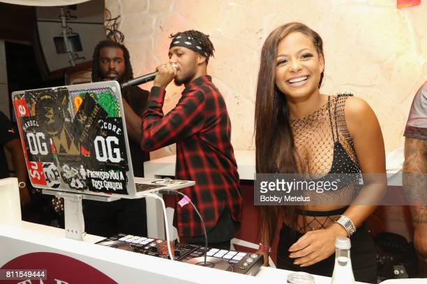 Metro Boomin and Christina Milian attend the New Era Cap MLB AllStar Party 2017 at Beachcraft at 1 Hotel South Beach on July 9 2017 in Miami Beach...