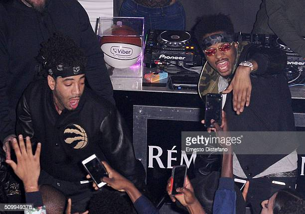 Metro Boomin and DJ Esco on stage at the Viber leading mobile messaging app and YesJulz NBA All Star Game Party at La Vie Nightclub on February 12...