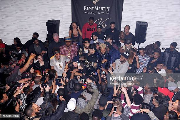 Metro Boomin YesJulz and DJ Esco on stage at the Viber leading mobile messaging app and YesJulz NBA All Star Game Party at La Vie Nightclub on...