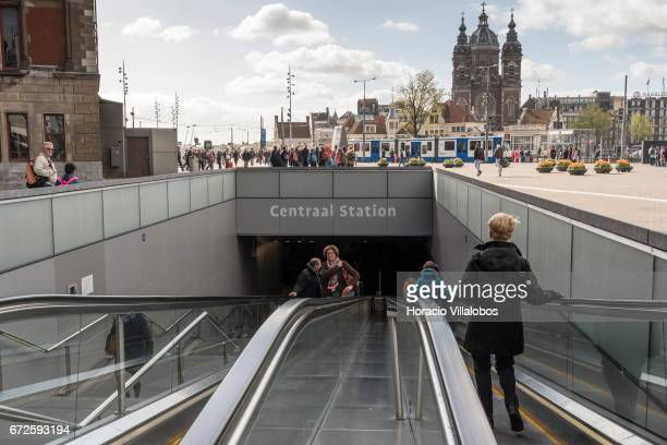 Metro entrance in Central Station on April 22 2017 in Amsterdam Netherlands The city's Metro system was first introduced in 1977 It is a fast way of...