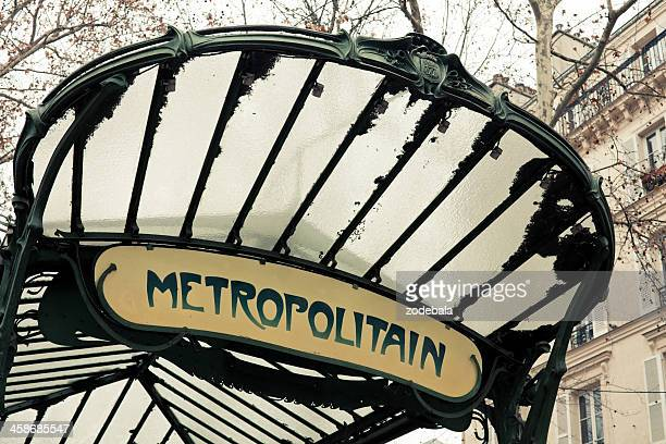 metro entrance in paris (metropolitain) - paris metro sign stock pictures, royalty-free photos & images