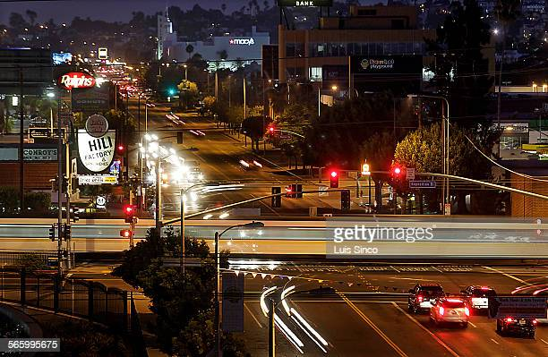 A Metro Expo Line train crosses Crenshaw Boulevard at Exposition Boulevard in the Crenshaw District of Los Angeles Development has started on the new...
