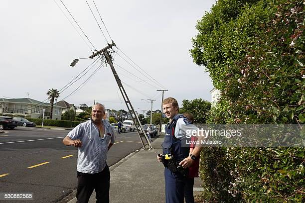 Metro link bus reverses into Vector power lines on Corner of Point Chevalier Road and Johnstone Street in Point Chevalier Auckland New Zealand at 530...