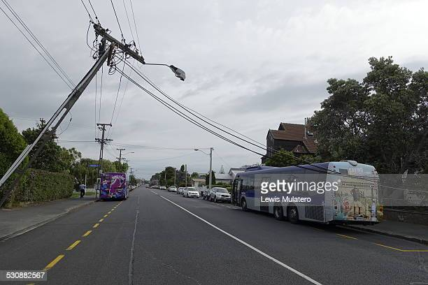 Metro link bus reverses into Vector power lines on Corner of Point Chevalier Road and Johnstone Street in Point Chevalier Auckland New Zealand at...