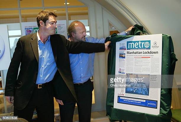 Metro newspaper Editor Stefano Hatfield and President and CEO Pelle Tornburg unveil the first edition of the newspaper May 5 2004 in New York City...