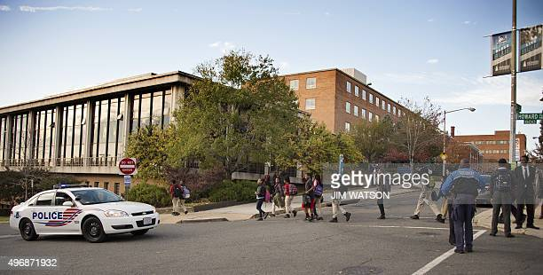 DC Metro Police patrol the front gates of Howard University in Washington DC on November 12 as the campus tightens security after an online death...