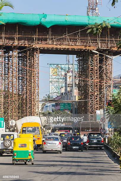 metro rail construction in bangalore, india - bangalore stock pictures, royalty-free photos & images