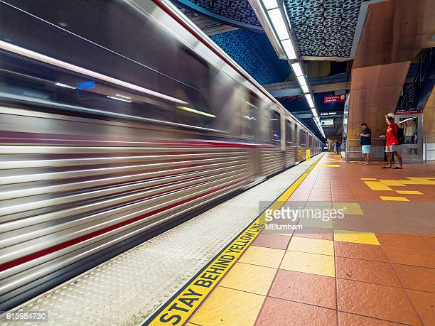Metro Red Line arriving at the Hollywood and Vaine station