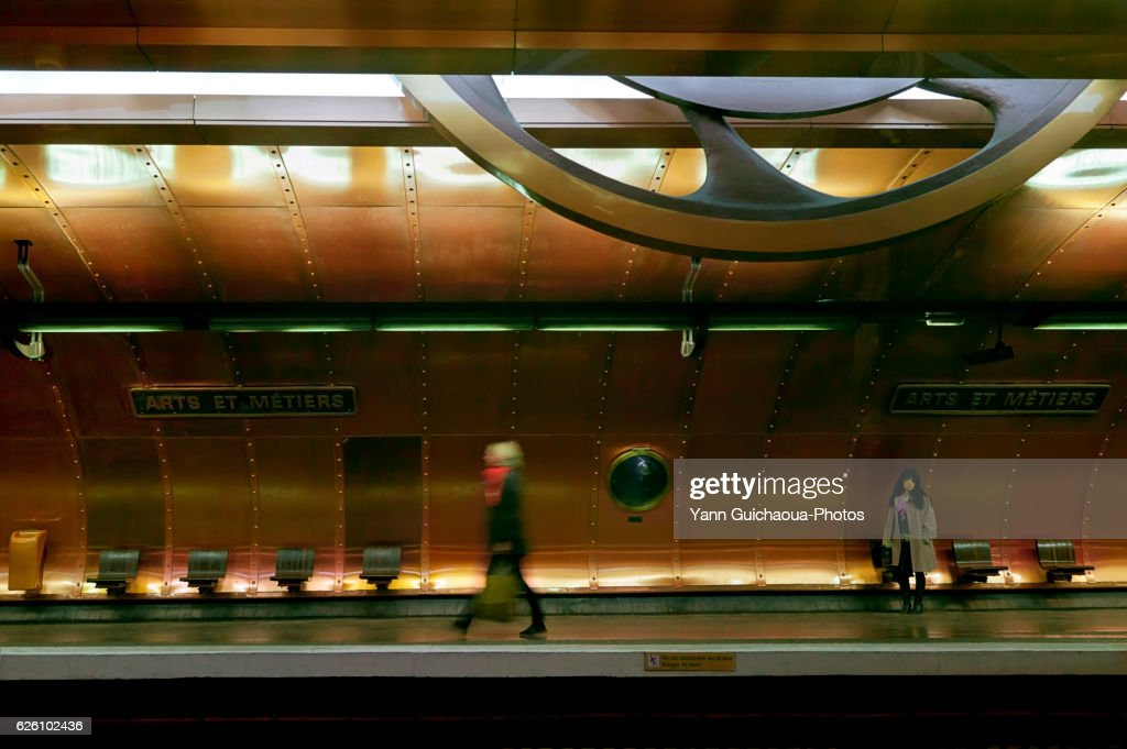 Redesigned in 1994 in proto Steampunk style, Arts et Metiers station on the Paris Metro takes its name from the Musee des Arts et Metiers it serves