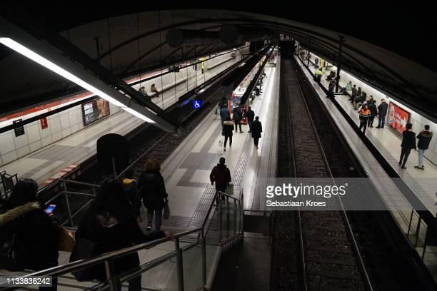 Metro Station Glòries, Platforms, Barcelona, Spain