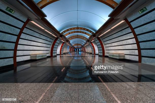 metro station, saint petersburg, russia - vanishing point stock pictures, royalty-free photos & images