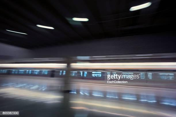 Metro train arriving at station in Hong Kong