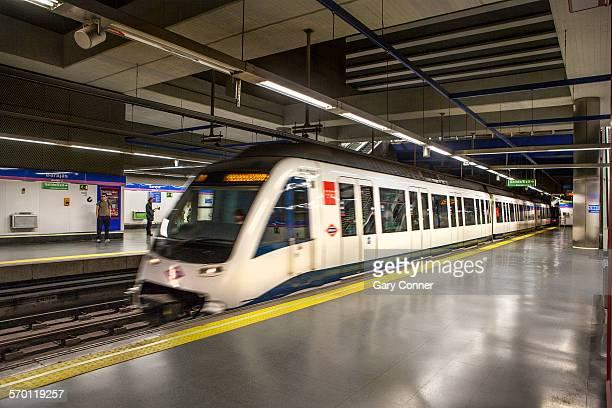 Metro train arriving Barajas Airport station