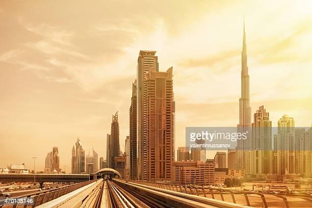 Metro train downtown in Dubai