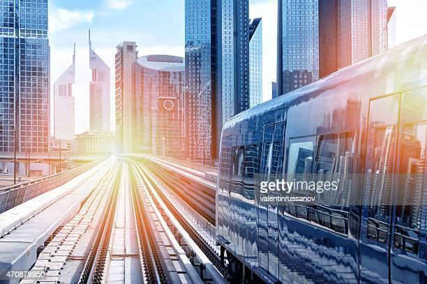 Metro train downtown in Dubai