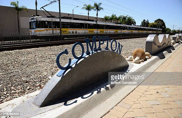 Metro train pass through on July 19 2012 in Compton California The City of Compton located south of Los Angeles with a population of nearly 100000...