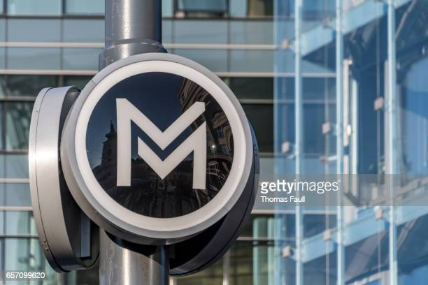 metro underground sign in budapest - letter m stock pictures, royalty-free photos & images