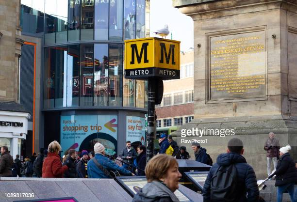metro underground subway station - newcastle, england. - tyne and wear stock pictures, royalty-free photos & images