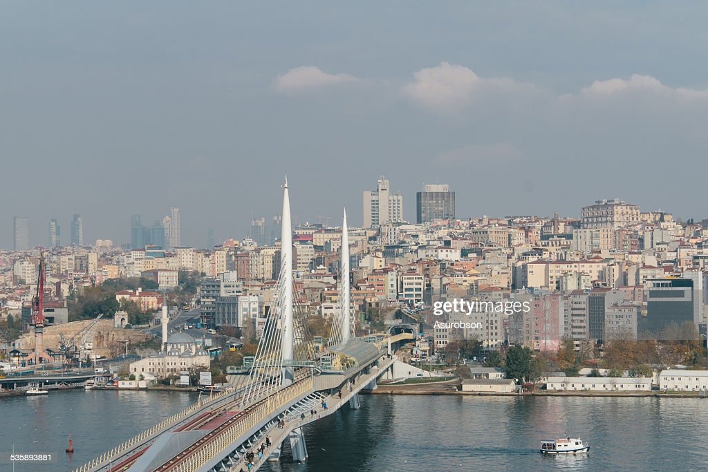 Metrobridge over the Golden Horn : Stock Photo